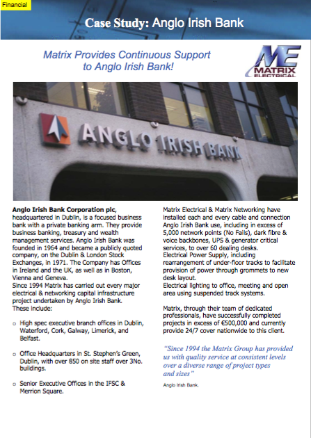 Matrix Fitout Project - Anglo Irish Bank