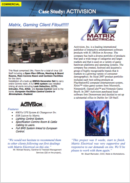 Matrix Fitout Project - Activision