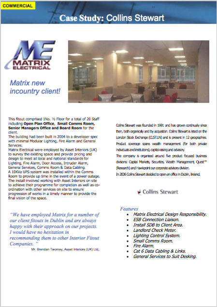 Matrix Fitout Project - Collins Stewart Financial Services