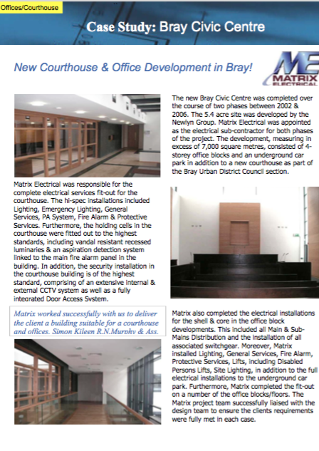 Matrix Fitout Project - Bray Courthouse & Offices