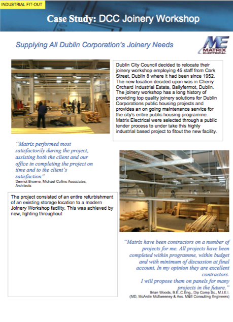 Matrix Fitout Project - DCC Joinery Workshop