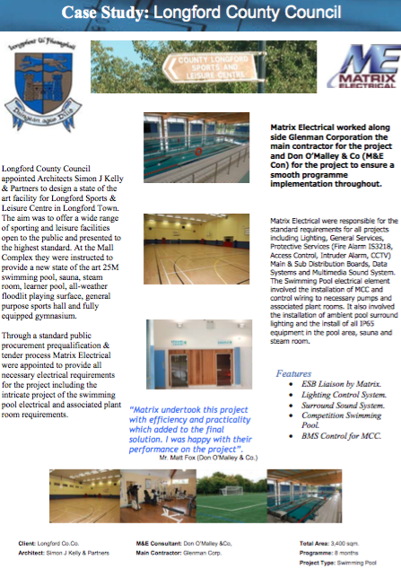 Matrix Fitout Project - Longford Sports Complex