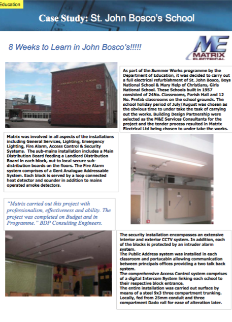 Matrix Refurbishment Project - St. John Bosco School